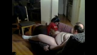 2 ebony sissies take care of fat white daddy